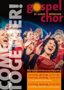 Flyer Gospelchor St. Lukas Weihnachtskonzerte 2019